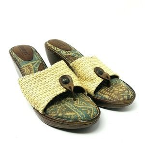 Born Basket Weave Clog Mule Slide Sandals Size 10M